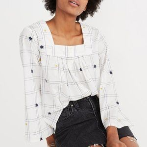 Madewell Windopane Button Front Embroidered Top